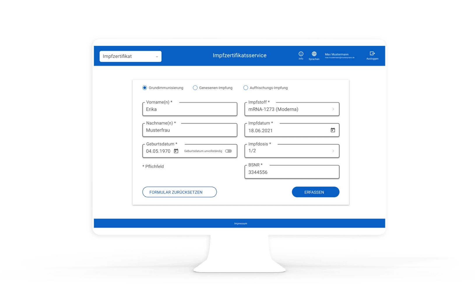 Online form in the web application, with fields for entering data such as the patient's name and date of birth.