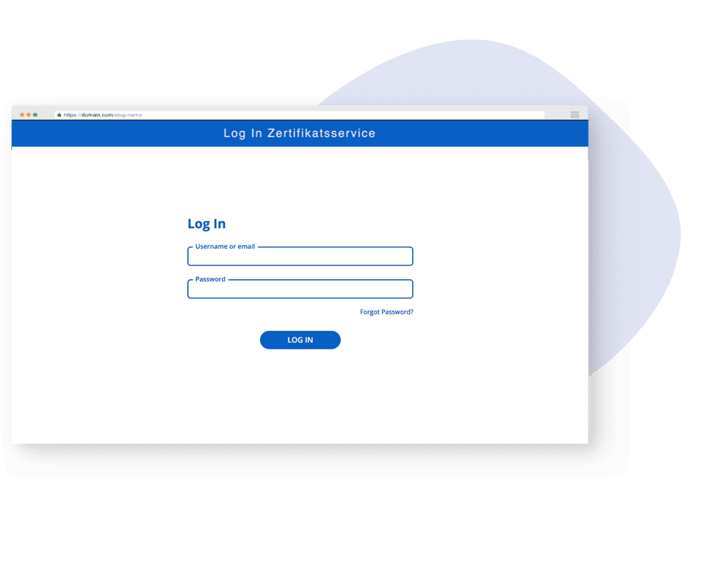 Login screen for the web application with fields for entering a username and password.