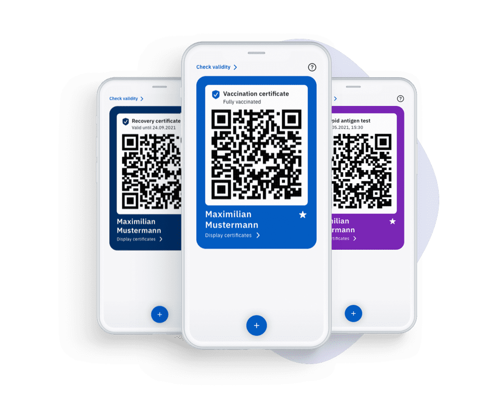 The app's start screen, featuring violet, dark-blue and light-blue QR codes for presenting